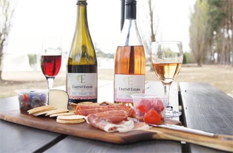 Easthill Estate wine and platter
